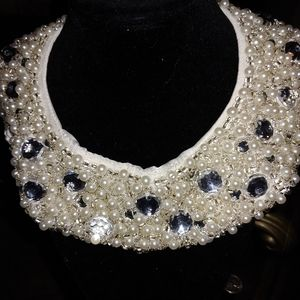 H&M rhinestone and beaded collar necklace